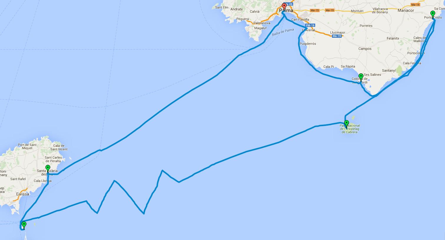 Mapa rejsu po Morzu Balearskim