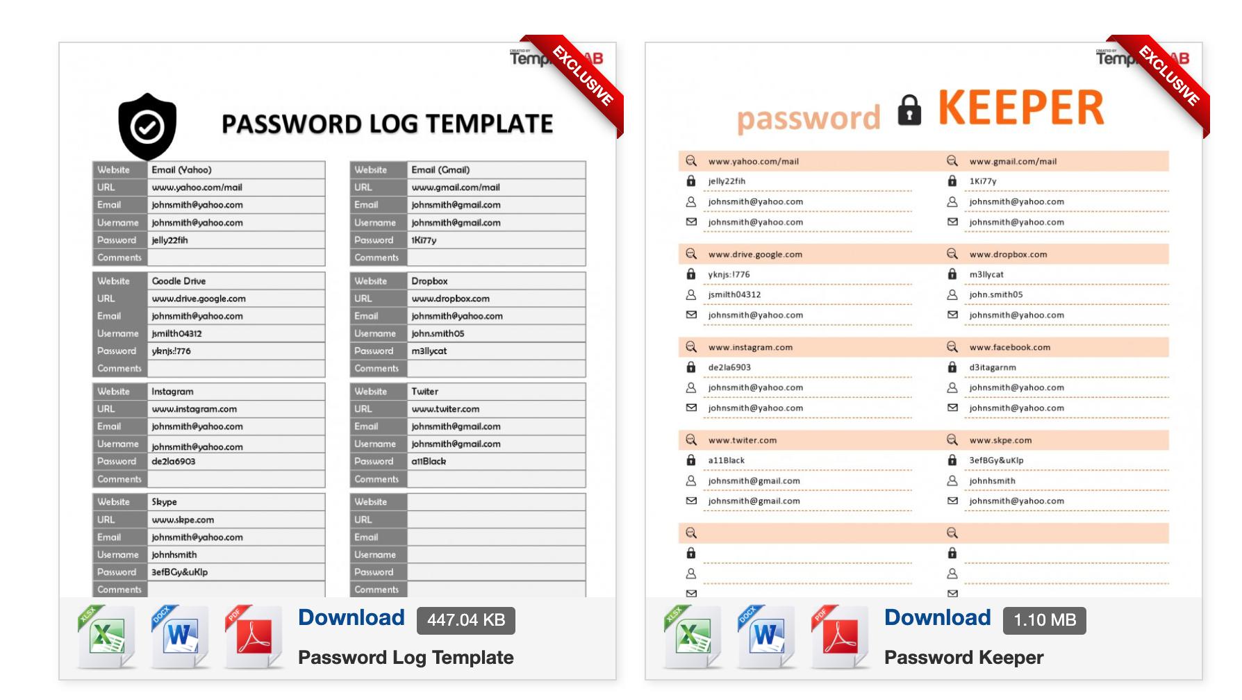 Excel Password Template