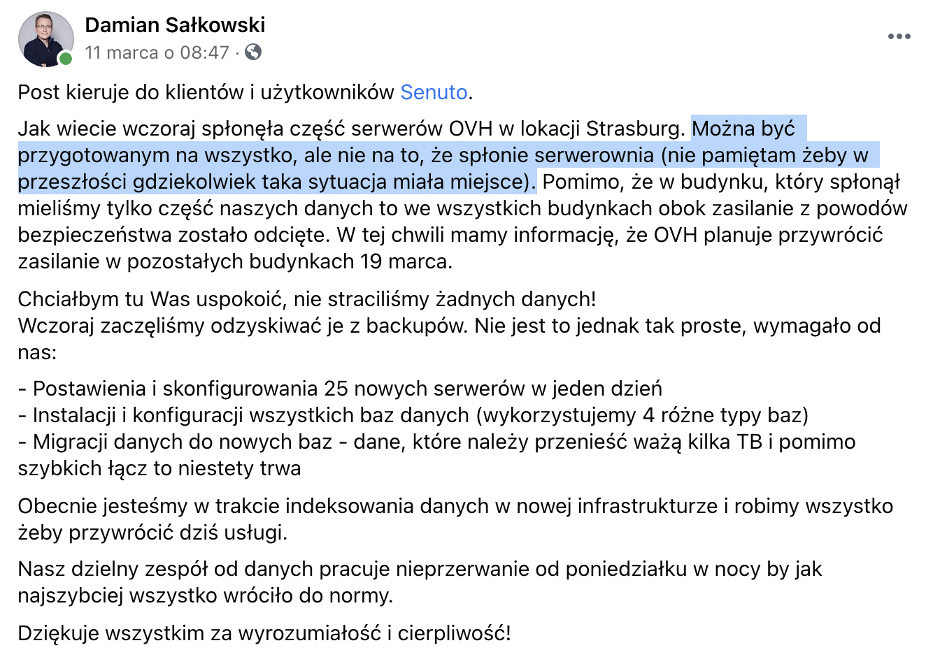 Damian Sałkowski - CEO w: Senuto